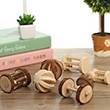 Be Good 5PCS Hamster Toys Set Natural Wooden Barrel Roller Ball with Bell Dumbbells and Wheel Funny Chew Toys for Birds Hamster Rabbits Rat Small Animal