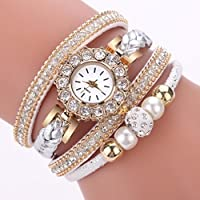 Paymenow Clearance Wrist Watches for Women Girls, 2018 New Luxury Rhinestone Pearl Analog Quartz Watch Fashion Bracelet Watches (White)