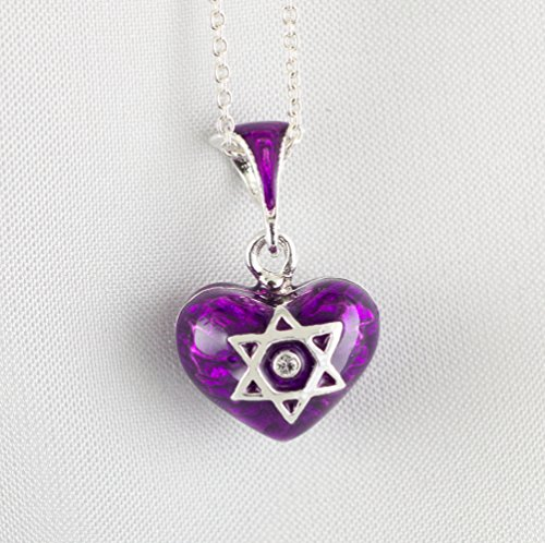 Star of David and Chai Judaica Pendant, Bat-Mitzvah Gift, Sterling Silver Purple Enameled Heart with Magen David, Small Heart Pendant w Jewish Star, Jewish Pendant for Girl/Woman