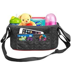 ELEGANT Baby Stroller Organizer Bag Universal Fit 2 Zippered Pockets Many Compartments Two Deep Bottle Holders Magnetic Closure Diaper Bag Detachable BONUS Shoulder Strap A MUST HAVE for Parents!