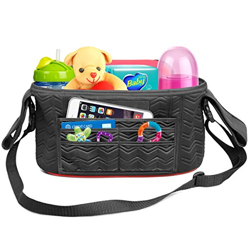 ELEGANT Stroller Organizer Universal Fit 2 Zippered Pockets Many Compartments Two Deep Bottle Holders Magnetic Closure Diaper Bag Detachable BONUS Shoulder Strap A MUST HAVE for Parents!