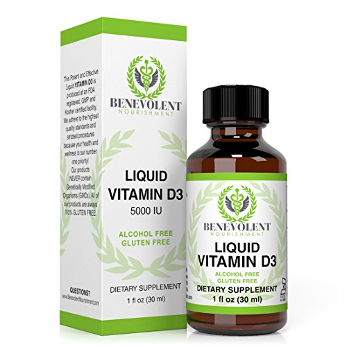 Vitamin D3 Liquid Drops - Potent & Effective 5000 IU - 1000 IU per Drop. Fast Absorbing Liquid Formula - Unflavored Dietary Supplement for Entire Family - 100% Alcohol & Gluten Free