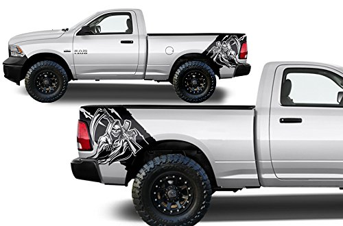 - Factory Crafts Dodge Ram 2009-2018 Reaper Rear Quarter Panel Graphics Kit 3M Vinyl Decal Wrap - Matte Black