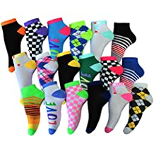 Frenchic Women's 18 Pairs Patterned No Show Ankle Socks