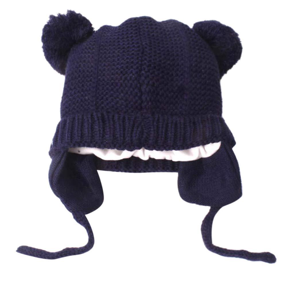 Diadia Baby Pom Pom Hat Diamond Pattern Winter Toddler Hats Knitted Hemming Skullies Beanies Hat Baby Hat Kids Girl Boy Hats Knitted Hemming Cap (Grey)