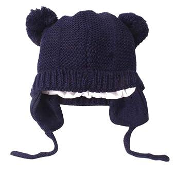 7d99f3300218 Longra Bébé Chapeaux Fille Garçon Hiver Chaud Crochet Tricoter Chapeau  Echarpe Calotte Chapeau Bonnet Casquette Enfants Cagoule Chaud Casquette  Echarpe ...