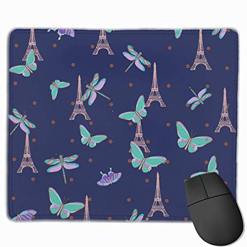 Paris Eiffel Tower Butterflies Quality Comfortable Game Base Mouse Pad with Stitched Edges Size 11.81 9.84 Inch]()