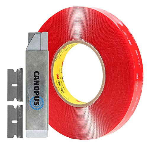 (Adhesive Double Sided Tape, Heavy Duty Mounting Tape, Converted from 3M VHB 4910, 1 Roll with Box Cutter (1PC) and Razor Replacement (2PCs) (0.25 in x 15 ft))