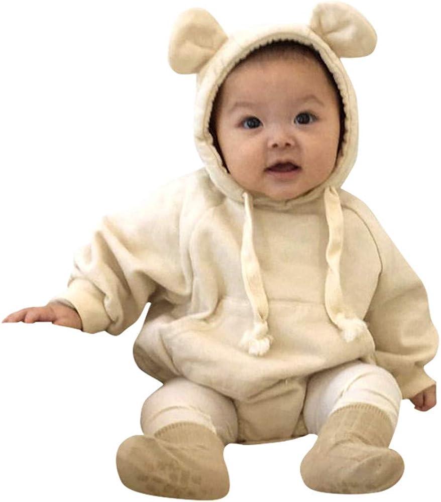 Baby Boy Girl Cartoon Bear Fleece Snowsuit Winter Warm Thick Hooded Coat Jacket