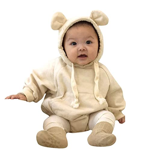 b57820490562 Baby Boys Girls Ear Cloak Romper Hooded Jumpsuit One-Piece Climb Clothes  Playsuit (Beige