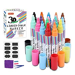 Liquid Chalk Markers,30 Colors Shuttle Art Erasable Chalk Pens with 48 Chalkboard Labels,1 Cleaning Cloth,1 Tweezer and…