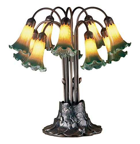 Green Pond Lily - Meyda Tiffany 14357 Pond Lily 10 Light Table Lamp, 22