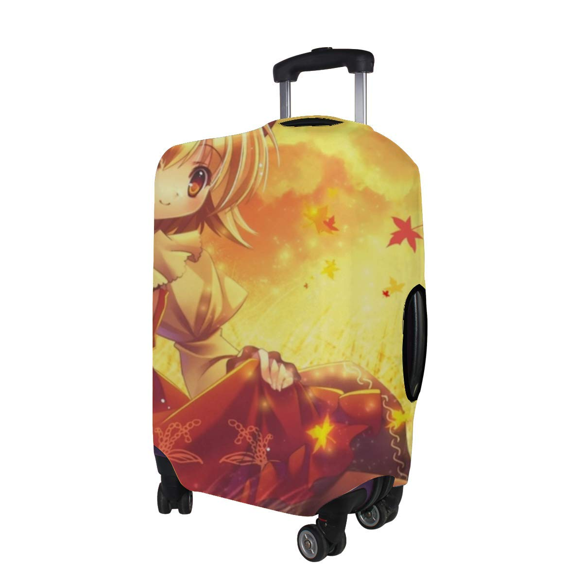 Maxm Anime Girl Smile Sunset Meadow Dress Pattern Print Travel Luggage Protector Baggage Suitcase Cover Fits 18-21 Inch Luggage