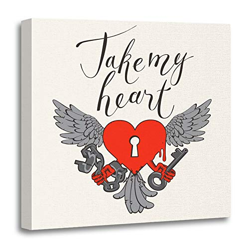 "Emvency 20""x20""(50x50cm) Canvas Painting Wall Art Valentines Day with Lock in The Shape of Heart Wings Key and Open Handcuffs Home Decorative Artwork Prints"