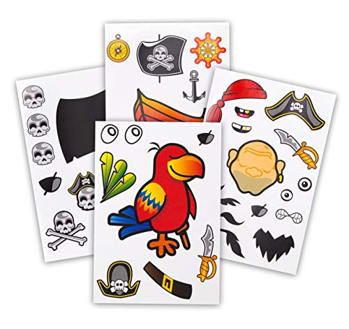 24 Make A Pirate Stickers For Kids - Great Pirate Theme Birthday Party Favors - Fun Craft Project For Children 3+ - Let Your Kids Get Creative & Design Their Favorite Pirate Stickers