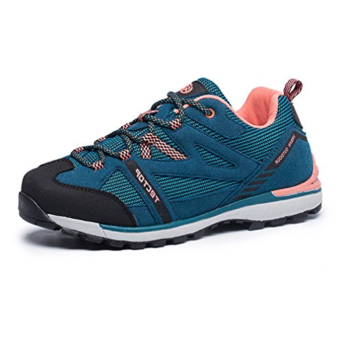 Athletic Low Suede Water Women's Shoes Top Casual Resistant Lace Blue Outdoor Hiking Sports Sneakers Breathable Mesh emansmoer Ladies Trekking up qgTZ4Z