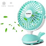 Baby Stroller Clip Fan, TOPBRY Portable Battery Powered Quiet Desk Fan with 5 Blades Cute Whale Design for Baby Stroller Office Travel (Green)