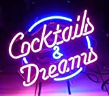 Cocktails and Dreams Real Glass Neon Light Sign Home Beer Bar Pub Recreation Room Game Room Windows Garage Wall Store Sign (17'x14' Large)