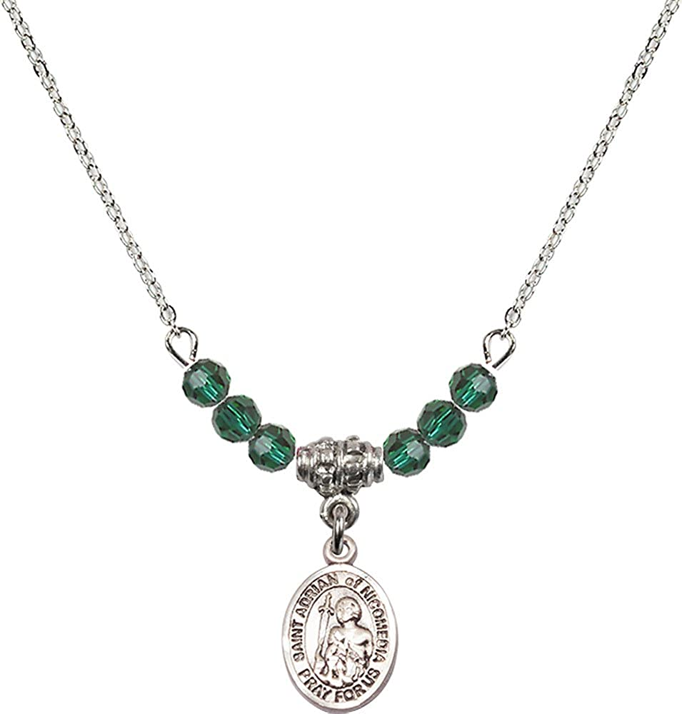 18-Inch Rhodium Plated Necklace with 4mm Emerald Birthstone Beads and Sterling Silver Saint Adrian of Nicomedia Charm.