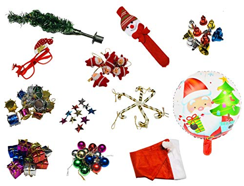 Krisah® 75 pcs Mini Size All in One Christmas Ornaments Decoration Combo Set (Tree,Satin Balls, Bells, Stars, Santa Claus Hanging, Candy Canes, Gifts, Drums, Cap, Goggles, Band & Santa Foil Balloon)