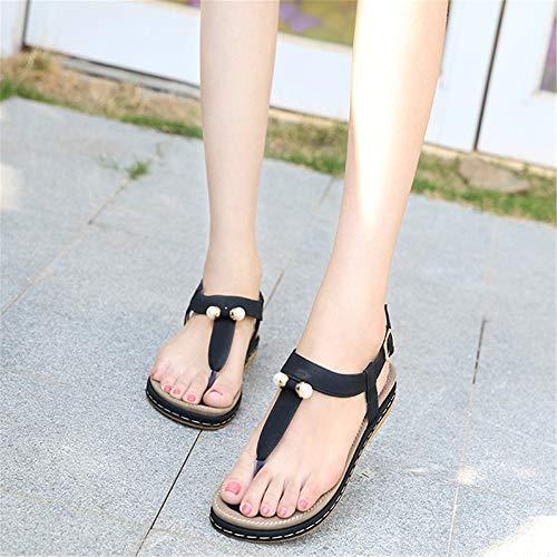 Playa De Zapatos De Flip Rome Suela Sandalias Gruesa Shoes Mujer Negro Trifle 0qH8x8Y