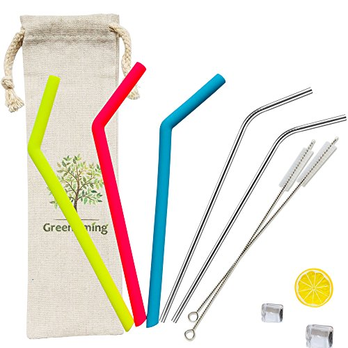 Bags Filter Liquid (Silicone Straw 3 Rainbow Color Straws + 2 Stainless Steel Straw with 2 Straw Brush, Reusable Straw for 30oz, 20oz Tumbler, Yeti Cup with Straw Carry Bag case)