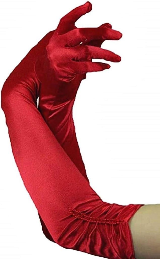 EVRYLON Guanti Lunghi per Donna O Ragazza Anni 20 Eleganti in Raso Elasticizzato Colore Rosso con Perline Ottima Idea Regalo