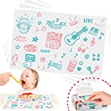 Disposable Placemats, Stick-on Placemat Table mat Table Topper and Eco-Friendly Tablecloth Portable for Kids, Baby, Toddler