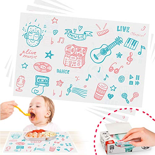Disposable Placemats, Stick-on Placemat Table mat Table Topper and Eco-Friendly Tablecloth Portable for Kids, Baby, ()