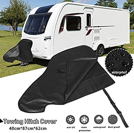 Garneck Caravan Hitch Cover Universal Waterproof Tow Hitch Cover Tongue Jack Protective Cover for RV Caravans Trailer