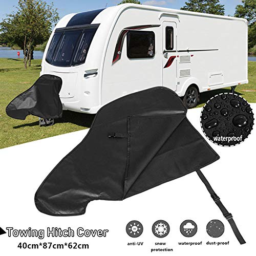 Caravan Hitch Cover,Universal Waterproof Breathable Tow Hitch Cover Tongue Jack Cover PVC Trailer Tow Ball Coupling Lock