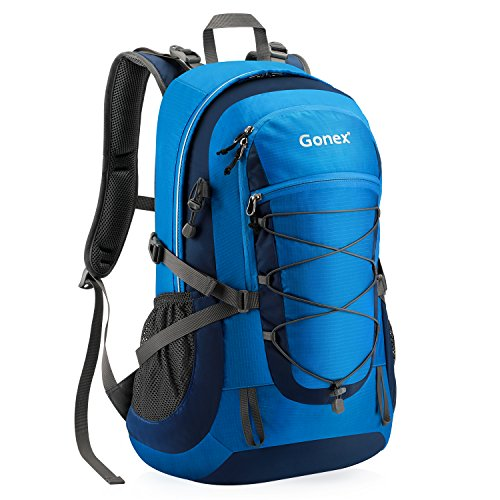 Gonex Updated 35L Hiking Backpack, Camping Outdoor Trekking Daypack, Waterproof and Backpack Cover Included (Blue) (Best 35 Liter Backpack)