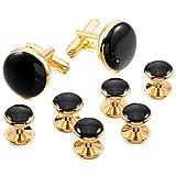 INBLUE Men's Rhodium Plated Enamel Cufflinks Black Gold Tone Stud Set Tuxedo