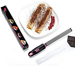 WonderEsque Citrus Lemon Lime Zester and Cheese Grater - Safety Protective Cover - Super Sharp Stainless Steel Blade -- No-Slip Ergonomic Handle (BLACK and PINK, 12.6x1.1x1.3)