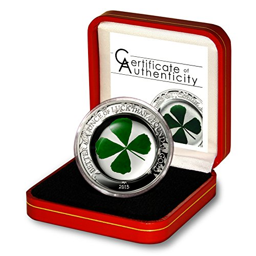 Palau Oz of Good Luck Genuine Four-Leaf Clover $5 2013 Proof Silver Coin Case & COA 1.00 ASW