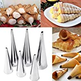 Cacys-Store - 3pcs/set Baking Cake Mold For Cream Horns Chocolate Cones Dessert Pastry Stainless Steel Spiral Baked Croissants Tubes DIY Horn