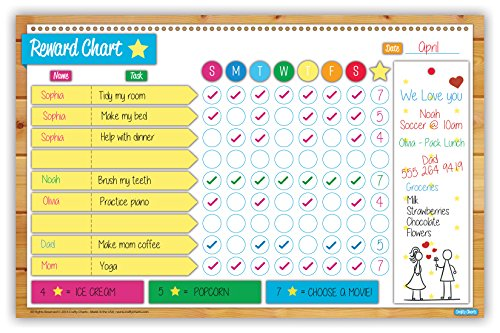 "Crafty Charts - Magnetic Reward Chart Flexible Dry Erase Board for Fridge / Reusable / Multiple Kids / Chore Planner / Behavior Incentive / Teaches Responsibility / Family Calendar / 11"" x 17"""