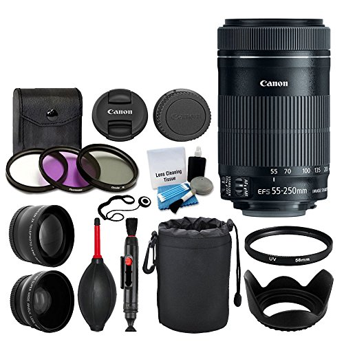 Canon EF-S 55-250mm F4-5.6 is STM Lens for Canon SLR Cameras, 58mm 2X Professional Telephoto Lens, High Definition 58mm Wide Angle Lens Bundle with Accessories (Canon Eos 5d Mark 3 Best Price)