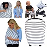 Nursing Breastfeeding Cover 5-in-1 Multi-Use Scarf – Breathable Stretchy Fabric – Convertible Nursing Cover, Baby Car Seat Canopy, Infinity Scarf – Breastfeeding Cover for Boys & Girls