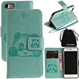 "DRUnKQUEEn iPhone 7 Case, 3D Creative Cartoon Panda Cover Soft Leather Case with Hand Strap for iPhone7 (4.7"") - Green"