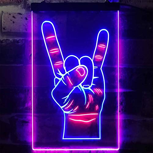 ADVPRO Rock n Roll Hand Heavy Metal Horn Band Dual Color LED Neon Sign Blue & Red 12″ x 16″ st6s34-i2948-br