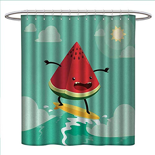 Surf Shower Curtains Sets Bathroom Cute Watermelon Riding The Waves Surfing in The Ocean Popular Summer Activity Fabric Bathroom Decor Set with Hooks W69 x L75 Red Green Yellow -