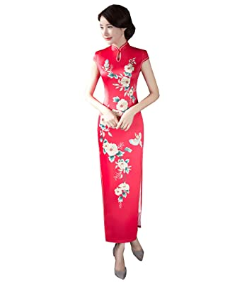 c4e264d17 Women's Chinese Dress Cheongsam Flower Printing China Traditional Dress  Qipao for Girl (2 (Chinese