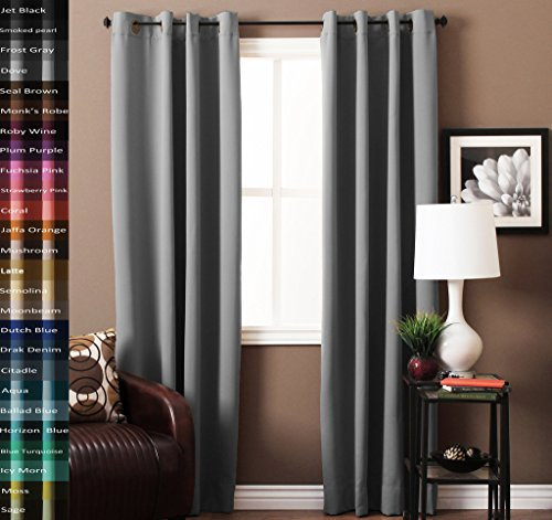 TURQUOIZE Blackout Drapes, Dove, Themal Insulated, Grommet/Eyelet Top, Nursery/Living Room Curtains Each Panel 52″ W x 84″ L