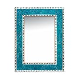 DecorShore 24″ x 18″ Crackled Glass Jewel Tone Mosaic Wall Mirror, Framed Rectangular Decorative Vanity Mirror, Accent Mirror, Gemstone Look (Turquoise) For Sale