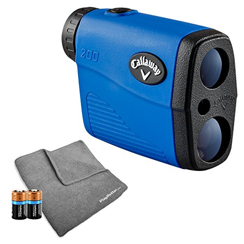 Callaway 200 (Blue) Golf Rangefinder Bundle | Includes Ultra-Compact Golf Laser Rangefinder, PlayBetter Microfiber Towel and Two (2) CR2 Batteries