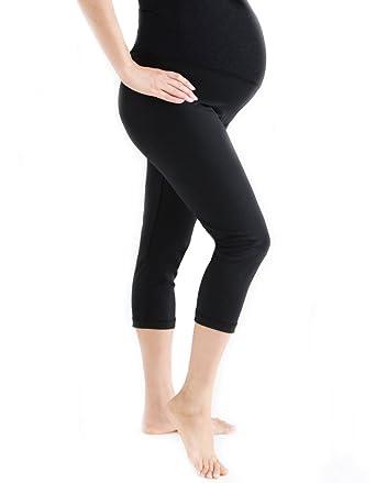 8c2404dfa9ec2 Oceanlily Women's Supplex Maternity Fitness Mid Calf Leggings Black at  Amazon Women's Clothing store: