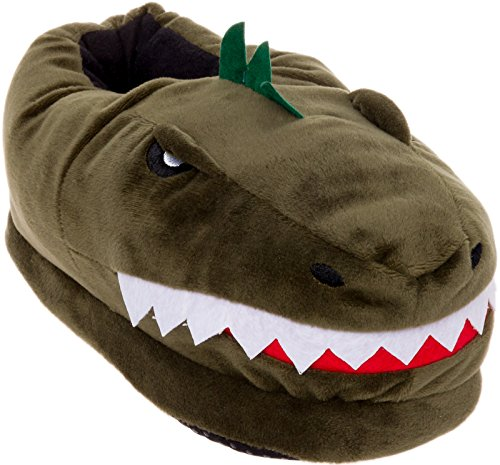 Silver Lilly Dinosaur Slippers - Plush T-Rex Slippers w/Memory Foam Support (Green, Medium)