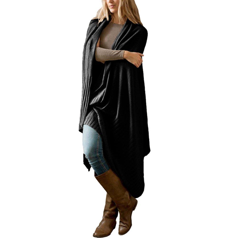 Parisbonbon Women's 100% Cashmere Ribbing Shawl Color Black One Size