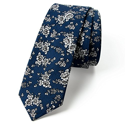 Spring Notion Men's Floral Print Cotton Skinny Tie, 10-Navy White - Navy Blue Floral Pattern